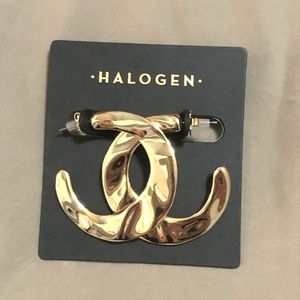 Halogen Molten Gold Teardrop Hoop Earrings